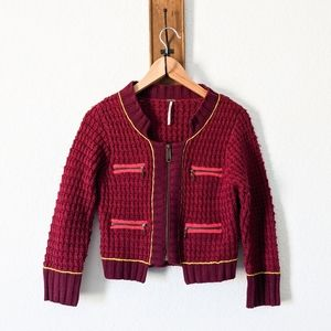 Free People Boucle Knitted Sweater Jacket